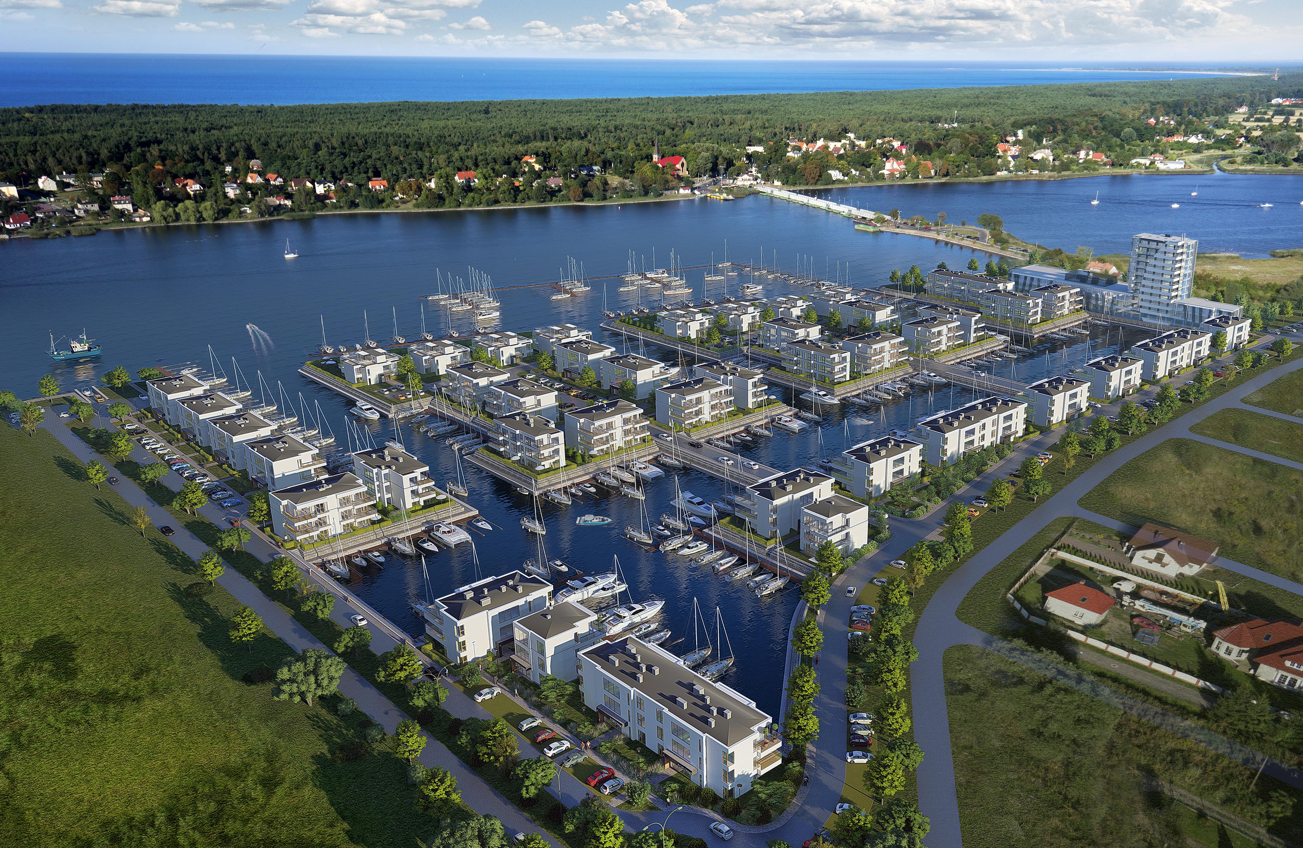 Sol Marina – kompleks apartamentowy w Wiślince z prywatną przystanią jachtową i częścią komercyjną stanowiącą hotel wraz z zapleczem handlowo-usługowym (wizualizacja)