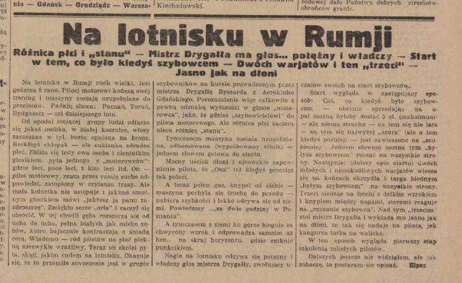 """Rumia w archiwalnej prasie – """"Na lotnisku w Rumji"""""""