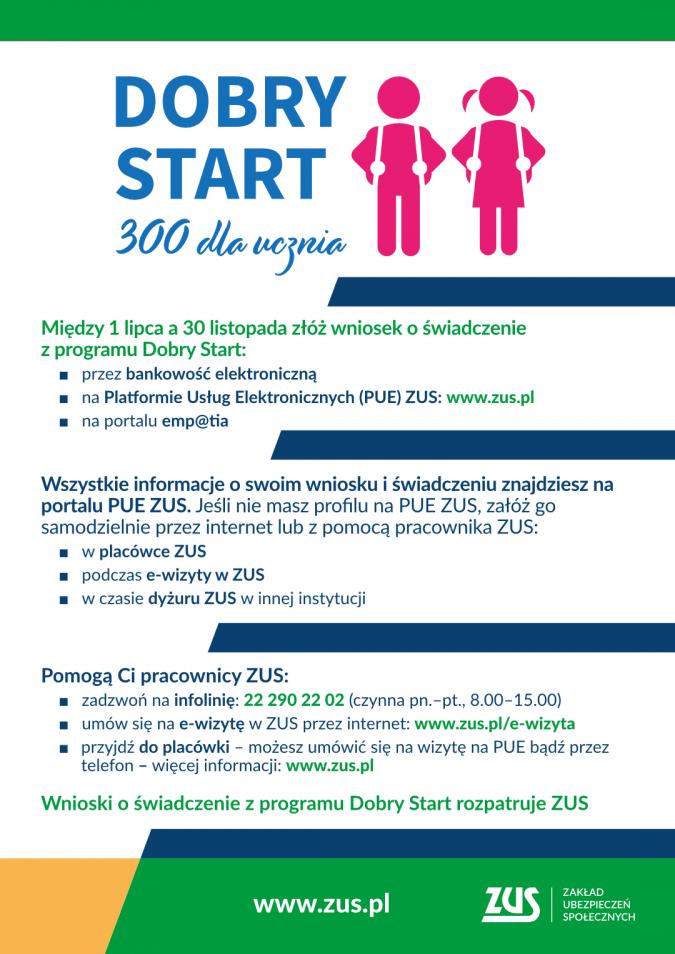 Dyżury pracowników ZUS-u dotyczące programu Dobry Start (300 plus)