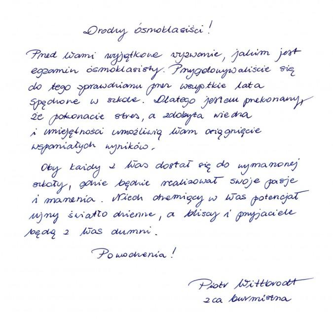 Życzenia dla ósmoklasistów od burmistrza Rumi