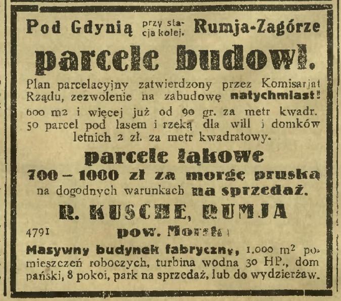 Rumia w archiwalnej prasie: Dzień Bydgoski, 9 sierpnia 1932 r.