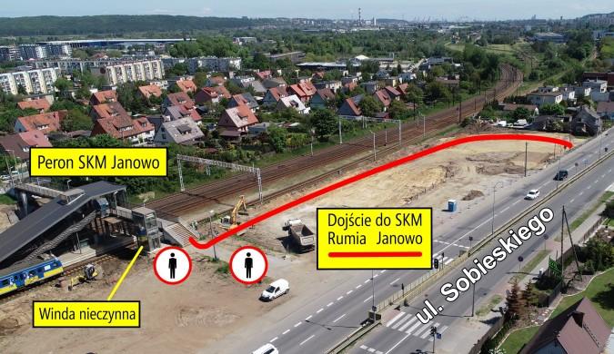 Wprowadzamy tymczasowe dojście do stacji SKM Janowo