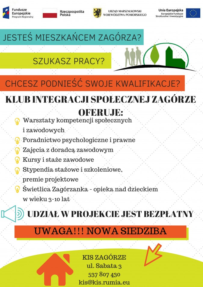 """Ruszyła rekrutacja do projektu Klub Integracji Społecznej """"Zagórze"""""""