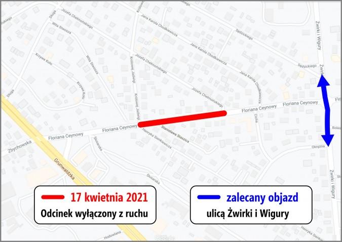 Ulica Ceynowy zostanie częściowo zamknięta