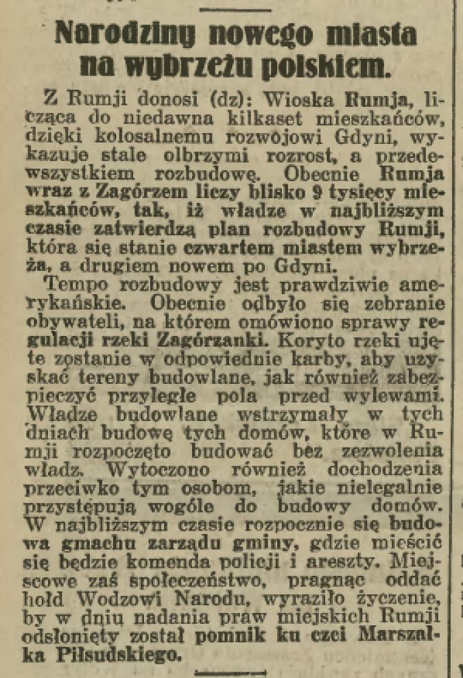 Rumia w archiwalnej prasie: Ilustrowany Kuryer Codzienny z 29 maja 1935 r.