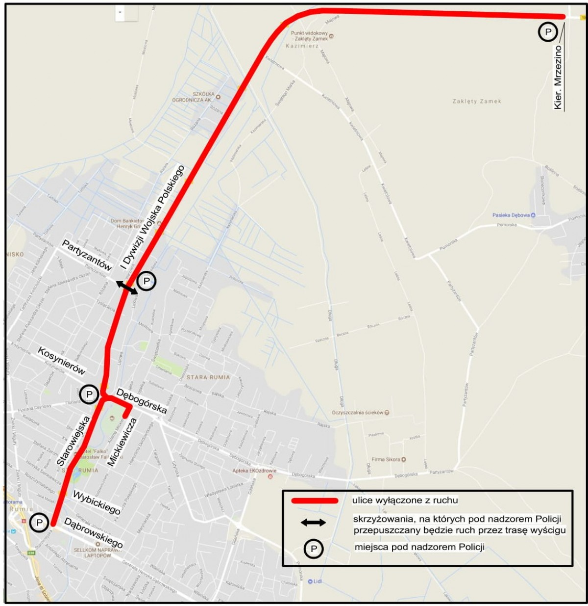 Schemat zamknięcia ulic w związku z LOTTO Duathlon Energy