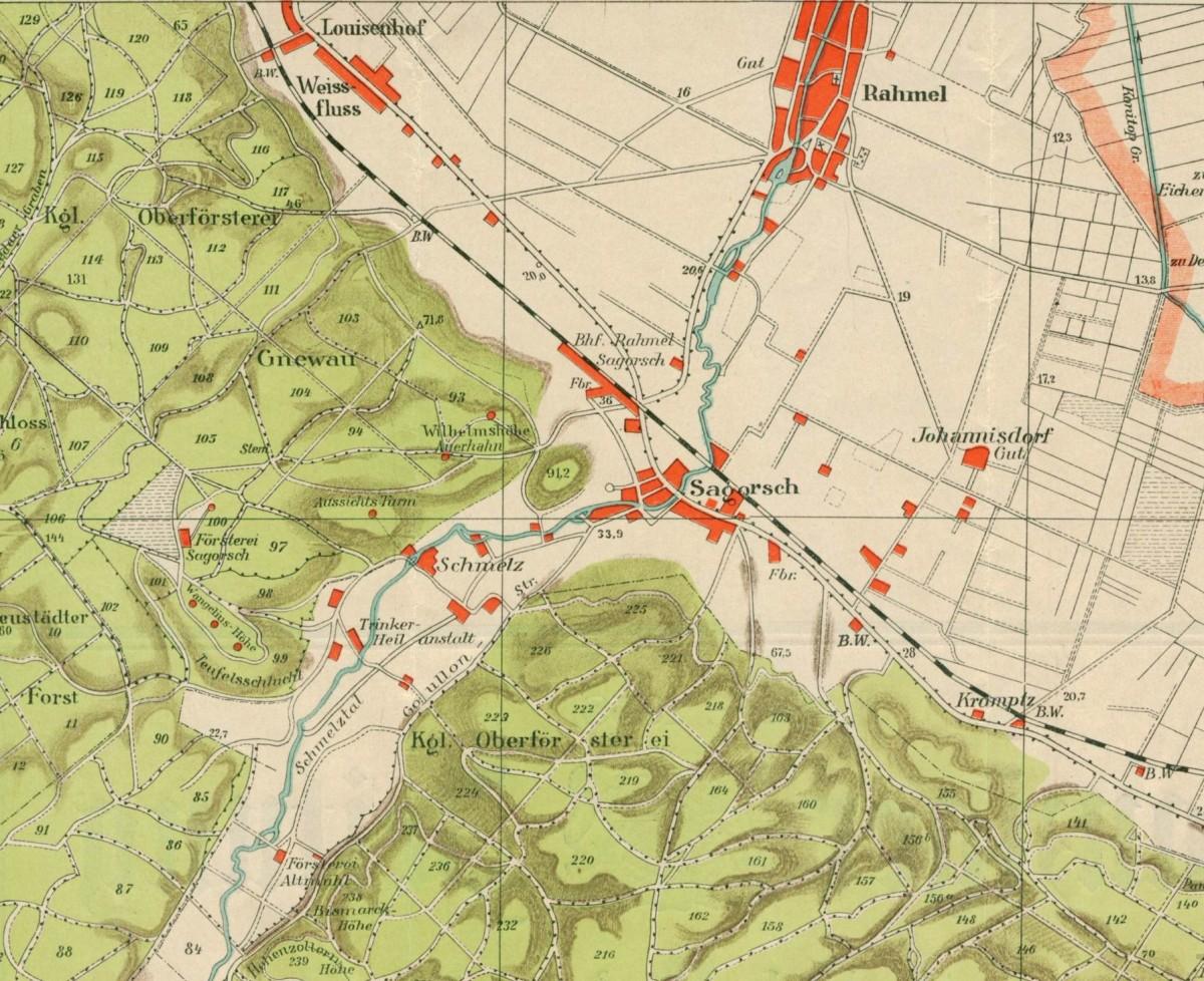 Rumia na mapie turystycznej z 1915 r.